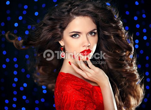 Hair Beautiful Brunette Girl Model With Curly Hairstyle Red Stock
