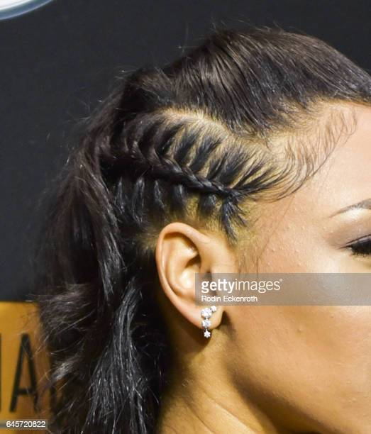 Hair detail actress Candice Patton attends the MercedesBenz x ICON MANN 2017 Academy Awards Viewing Party at Four Seasons Hotel Los Angeles at...