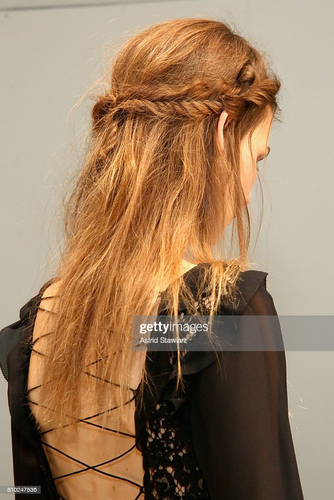 Hair detail on model as she poses on the runway with hair by TRESemme at the Rachel Zoe A/W16 Presentation during New York Fashion Week: The Shows at The Space, Skylight at Clarkson Sq on February 14, 2016 in New York City.