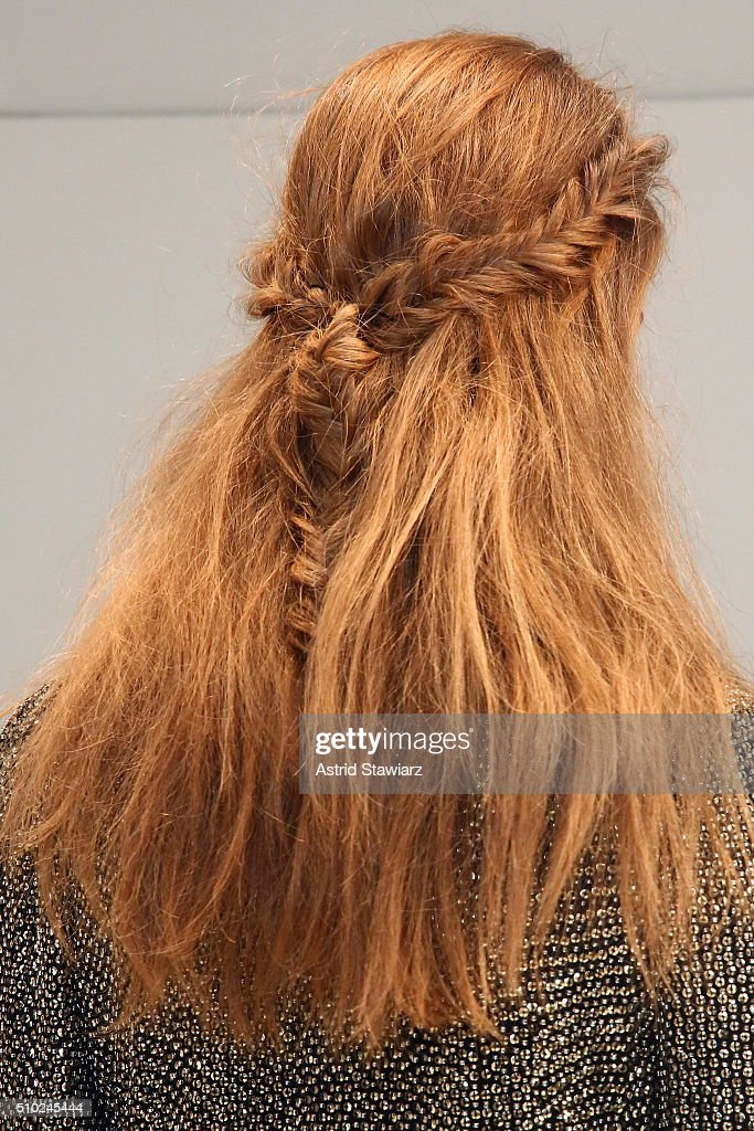 Hair detail on model ashe she poses on the runway with hair by TRESemme at the Rachel Zoe A/W16 Presentation during New York Fashion Week: The Shows at The Space, Skylight at Clarkson Sq on February 14, 2016 in New York City.