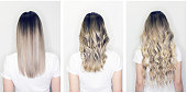 Hair extension or wig step by step tutorial. Blonde long hair with balayage or ombre hairstyle. Back view of beautiful woman with curly volume hair