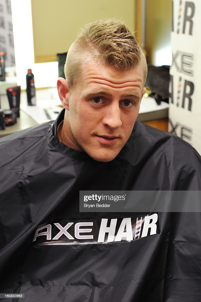Hair hooked defensive end J. J. Watt up with an extreme spiked-up mohawk at Truman's before he heads down to New Orleans for the big game on January 29, 2013 in New York City.