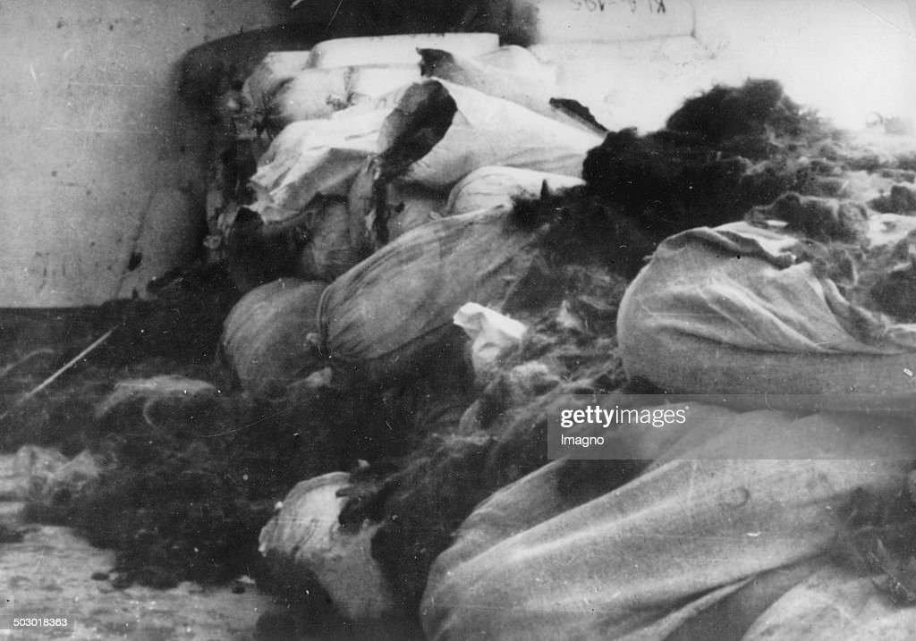 Hair of murdered Jews. Seven tons of hair were found after the liberation of the Auschwitz concentration camp in the depots. Poland. Photography. 1945. (Photo by Votava/Imagno/Getty Images) .