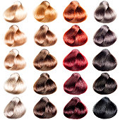 Hair Palette samples of different colors. Tints set for beauty industry.