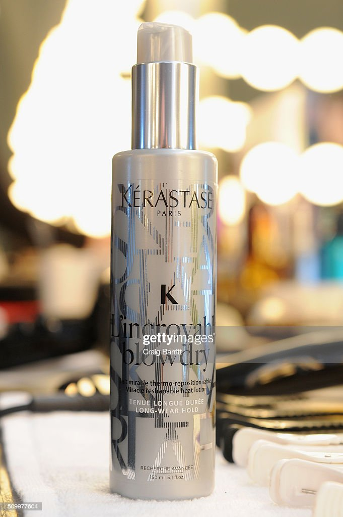 Hair products on display backstage at Suno F/W 2016 with Kerastase Paris at Pier 59 on February 13, 2016 in New York City.