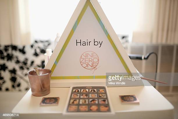 Hair products on display during POPSUGAR SHOPSTYLE'S Cabana Club Pool Parties Day 2 at the Avalon Hotel on April 12 2015 in Palm Springs California