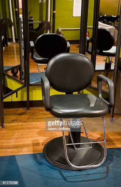 Hair salon chair with mirrors