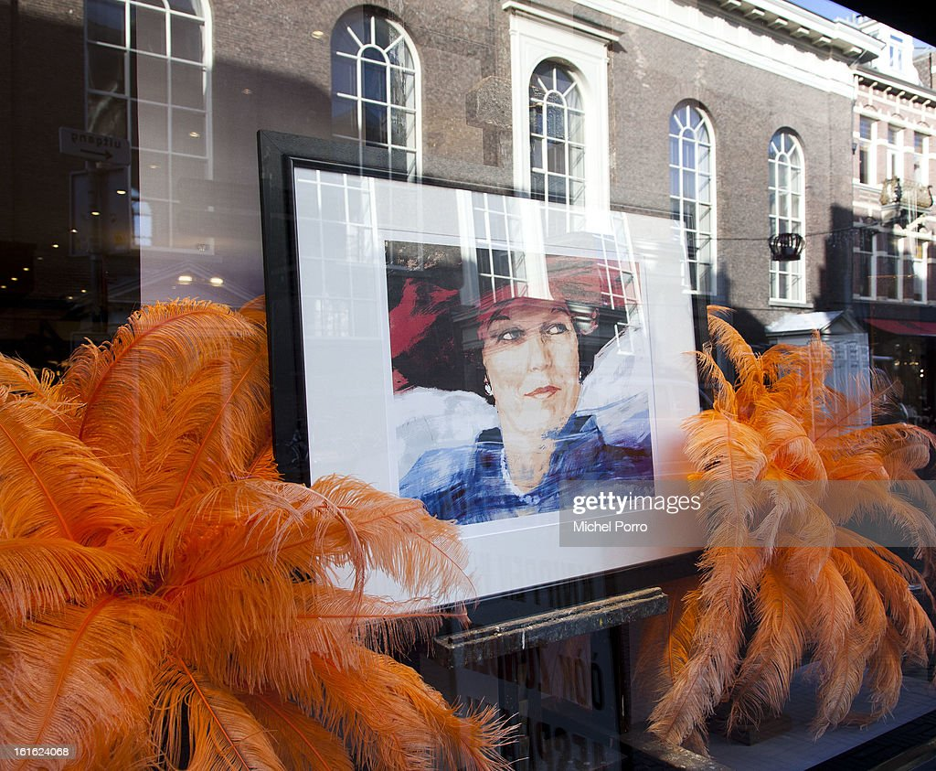 . A hair salon near the Noordeinde Palace displays a portrait of Queen Beatrix as the nation looks forward to the upcoming coronation of King Willem Alexander on February 13, 2013 in The Hague, Netherlands. The coronation Of Prince Willem Alexander will happen on April 30