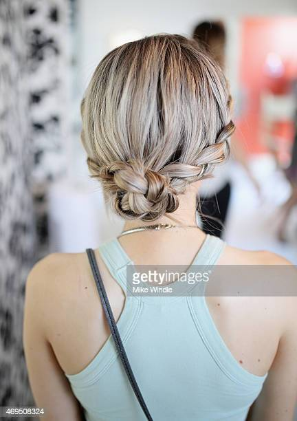 Hair styling booth during POPSUGAR SHOPSTYLE'S Cabana Club Pool Parties Day 2 at the Avalon Hotel on April 12 2015 in Palm Springs California