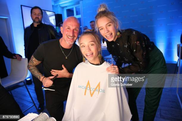 Hair stylist Angelo Fraccica with Lisa and Lena Influencer of the year during the New Faces Award Style 2017 at 'The Grand' hotel on November 15 2017...