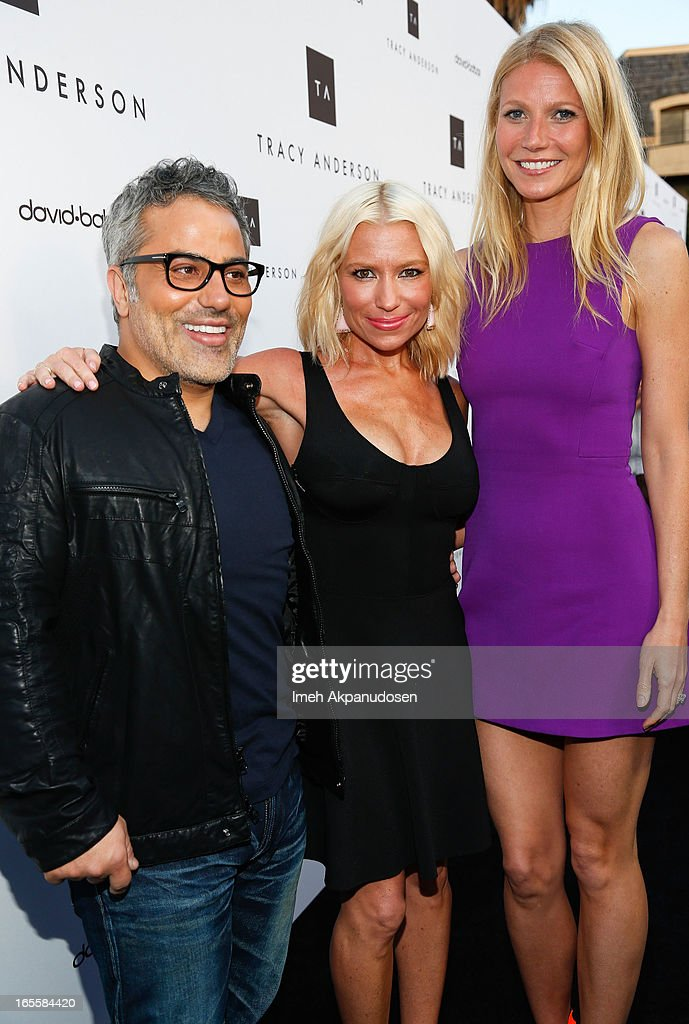 Hair stylist David Babaii, multi-platform fitness/wellness entrepreneur Tracy Anderson, and actress Gwyneth Paltrow attend the opening her new flagship studio at Tracy Anderson Flagship Studio on April 4, 2013 in Brentwood, California.