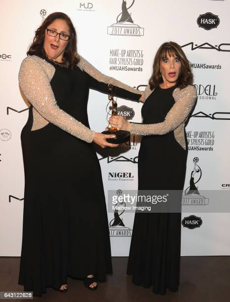 Hair stylist Laura Caponera recipients of the Best Hair StylingTheatrical Production Award for 'Amadeus' and actor Kate Linder pose for portrait...
