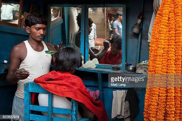 Haircut saloon near the flower market of Kolkata West Bengal India