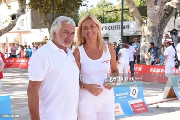 Hairdresser artist Franck Provost and Ariane de Senneville attend the Trophee Senequier Petanque competition at Place des Lices SaintTropez on August...