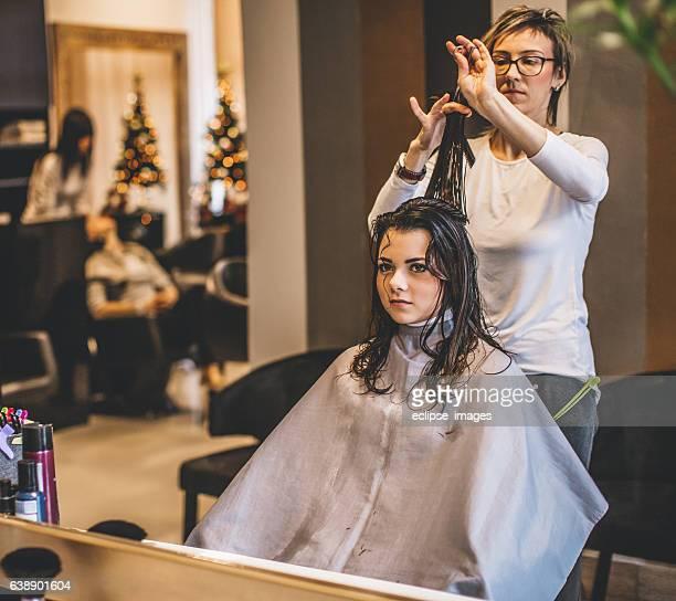 Hairdresser in action...