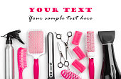 Hairdresser salon tools isolated on white with sample text space
