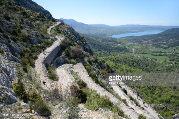 Hairpin Footpath or Trail Zigzagging Up Alps near Moustiers-Sainte-Marie Provence