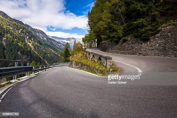Hairpin, Splugen pass road, Sondrio province, Lombardy, Italy