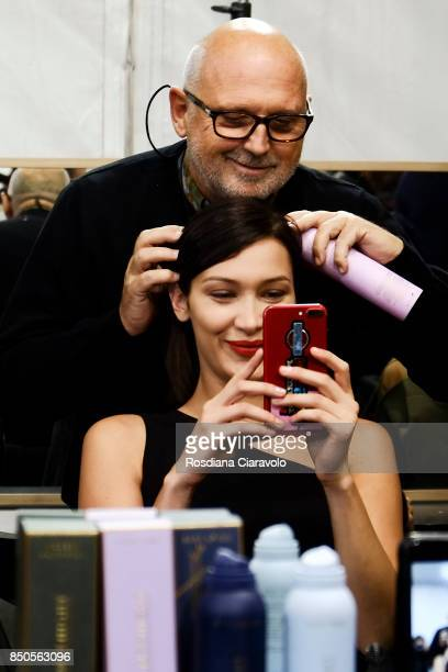 Hairstaylist Sam McKnight and Supermodel Bella Hadid are seen ahead of backstage the Max Mara show during Milan Fashion Week Spring/Summer 2018 on...