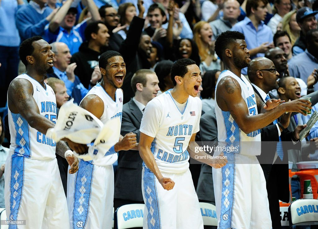 P.J. Hairston #15, <a gi-track='captionPersonalityLinkClicked' href=/galleries/search?phrase=Dexter+Strickland&family=editorial&specificpeople=5792010 ng-click='$event.stopPropagation()'>Dexter Strickland</a> #1, Marcus Paige #5 and Reggie Bullock #35 of the North Carolina Tar Heels cheer on the reserves during the closing minute of a win over the Virginia Cavaliers at the Dean Smith Center on February 16, 2013 in Chapel Hill, North Carolina. North Carolina won 93-81.