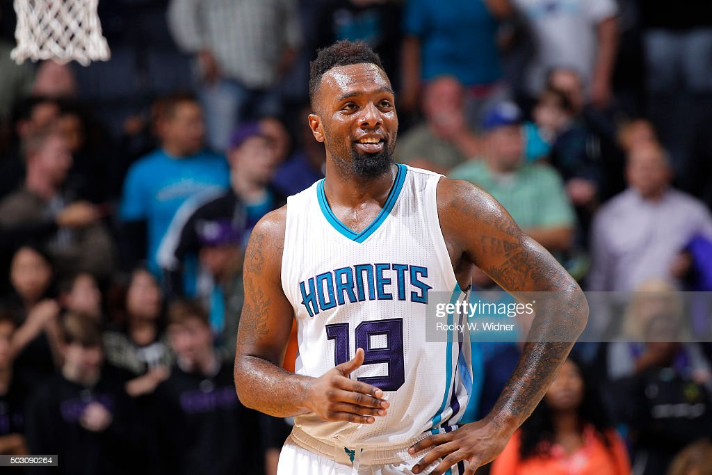 PJ Hairston #19 of the Charlotte Hornets looks on during the game against the Toronto Raptors on December 17, 2015 at Time Warner Cable Arena in Charlotte, North Carolina.