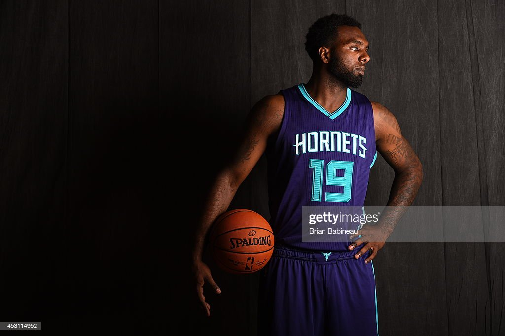 <a gi-track='captionPersonalityLinkClicked' href=/galleries/search?phrase=P.J.+Hairston&family=editorial&specificpeople=7621185 ng-click='$event.stopPropagation()'>P.J. Hairston</a> #19 of the Charlotte Hornets poses for a portrait during the 2014 NBA rookie photo shoot on August 3, 2014 at the Madison Square Garden Training Facility in Tarrytown, New York.