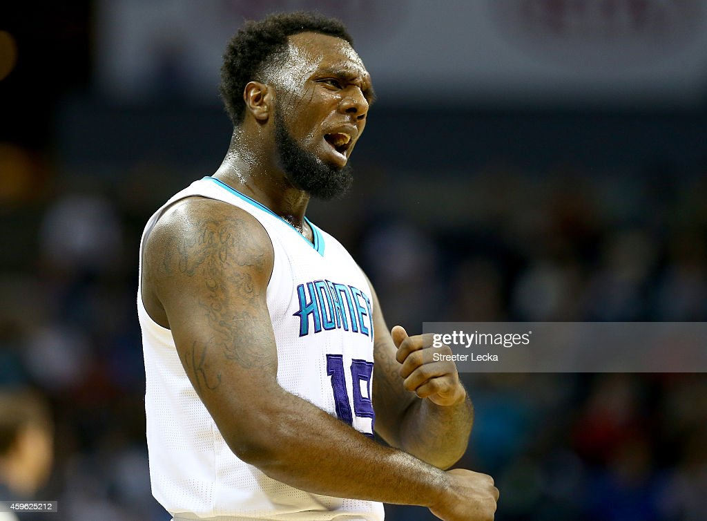 <a gi-track='captionPersonalityLinkClicked' href=/galleries/search?phrase=P.J.+Hairston&family=editorial&specificpeople=7621185 ng-click='$event.stopPropagation()'>P.J. Hairston</a> #19 of the Charlotte Hornets reacts after a play during their game against the Portland Trail Blazers at Time Warner Cable Arena on November 26, 2014 in Charlotte, North Carolina.