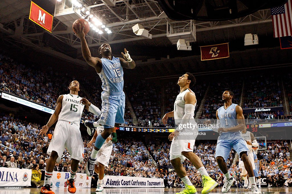 P.J. Hairston #15 of the North Carolina Tar Heels drives for a shot attempt against the Miami (Fl) Hurricanes during the final of the Men's ACC Basketball Tournament at Greensboro Coliseum on March 17, 2013 in Greensboro, North Carolina.