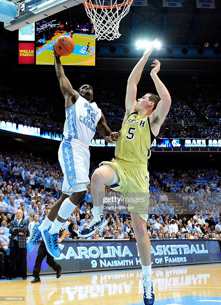 P.J. Hairston #15 of the North Carolina Tar Heels drives in for a dunk against Daniel Miller #5 of the Georgia Tech Yellow Jackets during play at the Dean Smith Center on January 23, 2013 in Chapel Hill, North Carolina. North Carolina won 79-63.