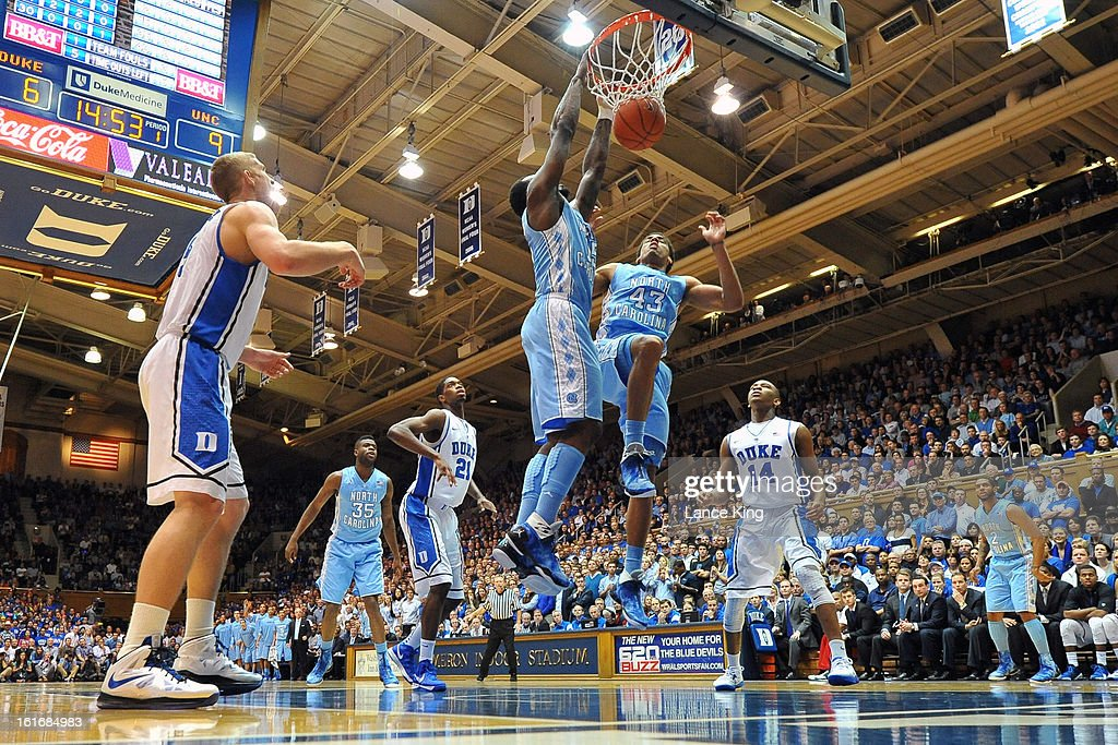 P.J. Hairston #15 of the North Carolina Tar Heels dunks against the Duke Blue Devils at Cameron Indoor Stadium on February 13, 2013 in Durham, North Carolina. Duke defeated North Carolina 73-68.