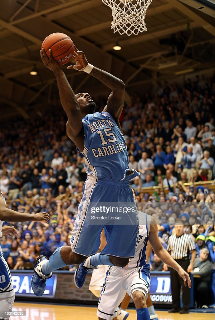P.J. Hairston #15 of the North Carolina Tar Heels during their game at Cameron Indoor Stadium on February 13, 2013 in Durham, North Carolina.