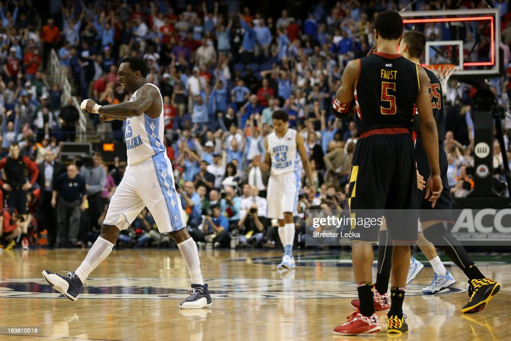 P.J. Hairston #15 of the North Carolina Tar Heels reacts after the Tar Heels defeat the Maryland Terrapins 79-76 during the men's ACC Tournament semifinals at Greensboro Coliseum on March 16, 2013 in Greensboro, North Carolina.