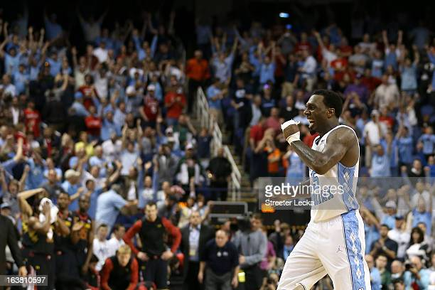 J Hairston of the North Carolina Tar Heels reacts after the Tar Heels defeat the Maryland Terrapins 7976 during the men's ACC Tournament semifinals...