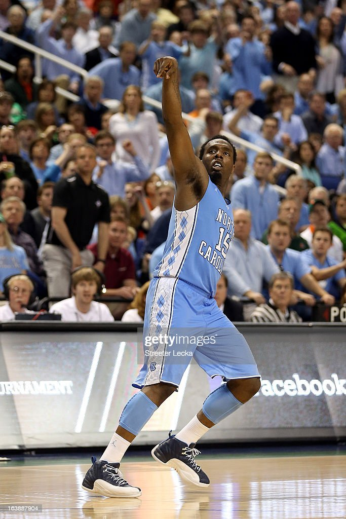 P.J. Hairston #15 of the North Carolina Tar Heels reacts as he watches his shot in the second half against the Miami (Fl) Hurricanes during the final of the Men's ACC Basketball Tournament at Greensboro Coliseum on March 17, 2013 in Greensboro, North Carolina.