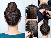 modern hairstyle reverse braided bun. Hairstyle tutorial for long hair. Hairstyle. Tutorial. Upside down french braid with bun. Braided bun