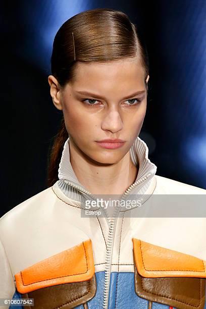 Hairstyle detail at the Prada show Milan Fashion Week Spring/Summer 2017 on September 22 2016 in Milan Italy