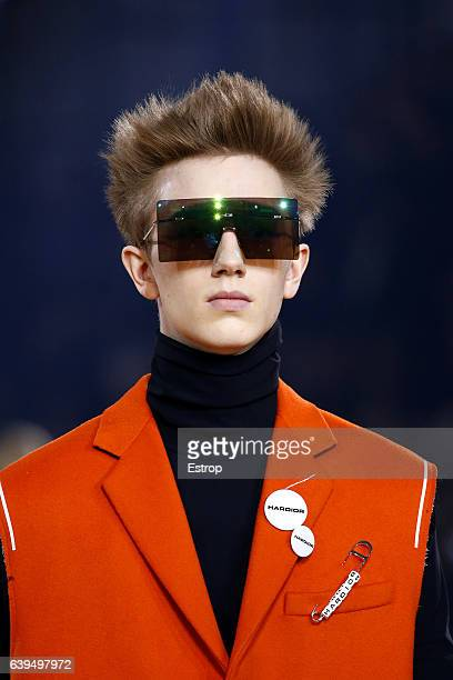 Hairstyle detail at the runway during the Dior Homme Menswear Fall/Winter 20172018 show as part of Paris Fashion Week on January 21 2017 in Paris...