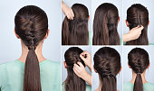 simple hairstyle ponytail with twist hair tutorial step by step. Hairstyle for long hair. Hairstyle tutorial
