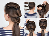 simple hairstyle with scrunchy. Hair tutorial step by step. Backstage technique of creating twisted pony tail