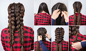 Hair tutorial. Hairstyle two volume combined braids for party tutorial step by step. Backstage technique of weaving plaits
