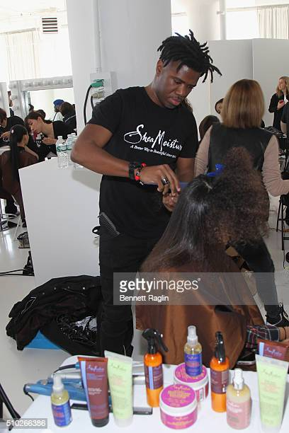 Hairstylist Allyn Antoine appears backstage during SheaMoisture at Laquan Smith F/W 2016 NYFW at Jack Studios on February 14 2016 in New York City