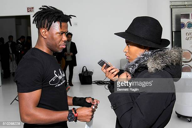 Hairstylist Allyn Antoine gives an interview during SheaMoisture at Laquan Smith F/W 2016 NYFW at Jack Studios on February 14 2016 in New York City