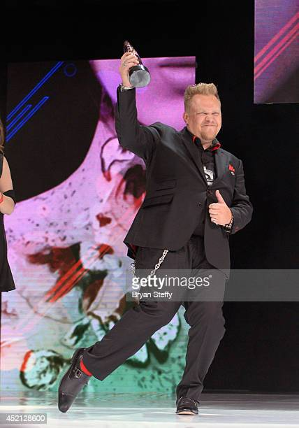 Hairstylist Chrystofer Benson accepts the Hair Color Award during The North American Hairstyling Awards 25th anniversary celebration at the Mandalay...