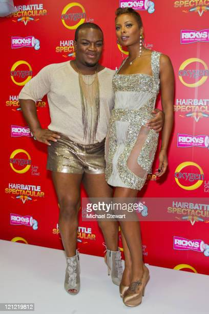 Hairstylist Derek J and actress Eva Marcille attend the 'Hair Battle Spectacular' Season 2 premiere at the Ricky's NYC Revolver Salon on August 15...