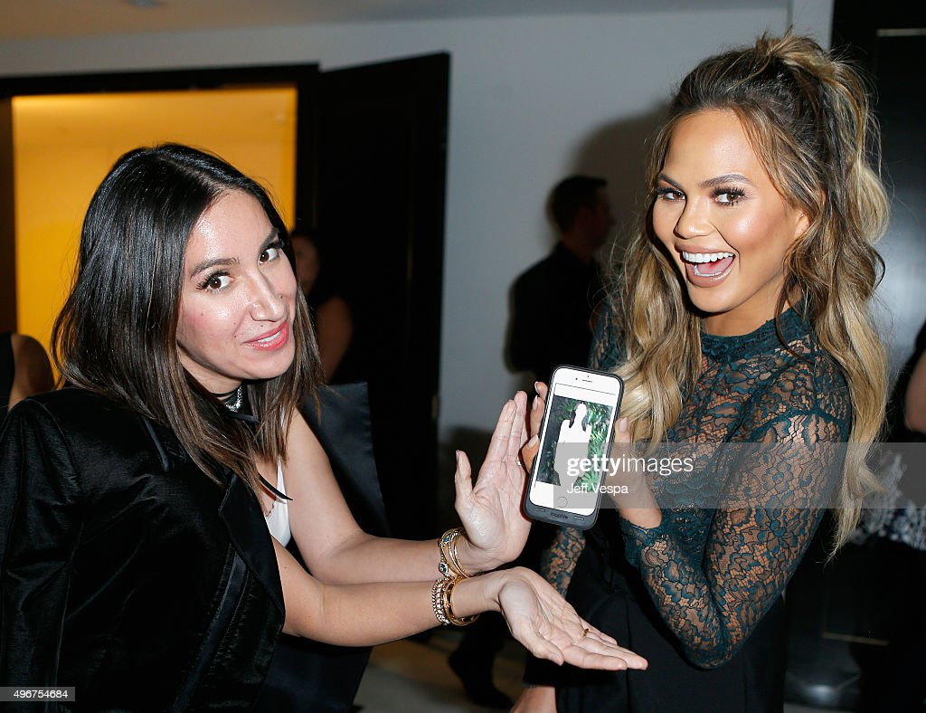 Hairstylist Jen Atkin (L) and model Chrissy Teigen attend The Hollywood Reporter's Beauty Dinner at The London West Hollywood on November 11, 2015 in West Hollywood, California.