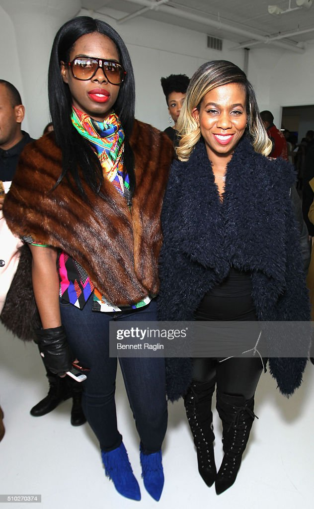 Hairstylist Lavette Slater (R) and guest attend SheaMoisture at Laquan Smith F/W 2016 NYFW at Jack Studios on February 14, 2016 in New York City.