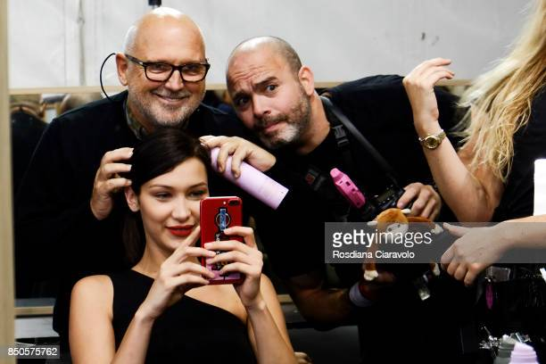 Hairstylist Sam McKnight Model Bella Hadid and photographer Kevin Tachman are seen backstage ahead of the Max Mara show during Milan Fashion Week...