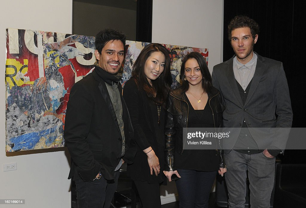 Hairstylists Nathan Vega, Sue Yi, Salina Alvarado and Michele Finessi of Rossano Ferretti Hairspa attend Art + Beauty Oscar Celebration For NYC Contemporary Artist Bobby Hill at Metodo Rossano Ferretti Hair Spa on February 19, 2013 in Beverly Hills, California.