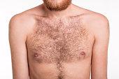 Hairy man chest - studio shoot