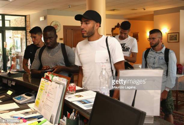 Haitam Aleesami and Carlos Embalo of Palermo arrive at the hotel on July 12 2017 in Gradisca d'Isonzo Italy